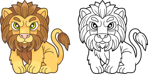 cartoon cute lion sitting in the grass, funny design illustration