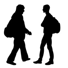 isolated silhouette man with backpack