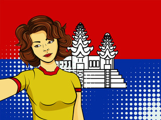 Asian woman taking selfie photo in front of national flag Cambodia in pop art style illustration. Element of sport fan illustration for mobile and web apps