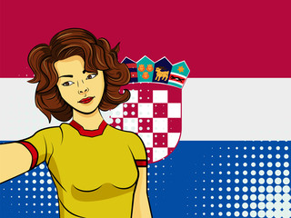 Asian woman taking selfie photo in front of national flag Croatia in pop art style illustration. Element of sport fan illustration for mobile and web apps