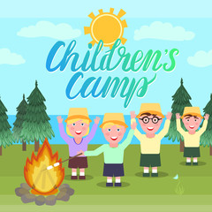Children's camp vector illustration. Girl and the boys are waving hands and picnic hike near the fire.