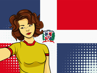 Asian woman taking selfie photo in front of national flag Dominican Republic in pop art style illustration. Element of sport fan illustration for mobile and web apps