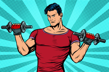 man with dumbbells, healthy lifestyle