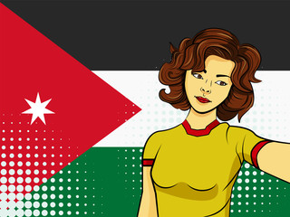 Asian woman taking selfie photo in front of national flag Jordan in pop art style illustration. Element of sport fan illustration for mobile and web apps