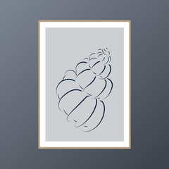 Seashell poster for interior decor