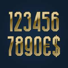 Ultra high golden numbers with currency signs of American dollar and euro. Vector symbols.