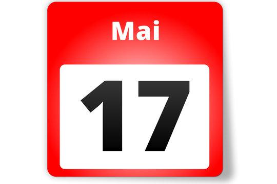 17 Mai Datum Kalender auf weißem Hintergrund