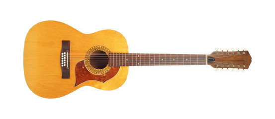 Musical instrument - Front view twelve-string acoustic guitar isolated