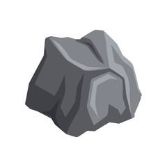 Gray stone with lights and shadows. Cartoon vector icon of mountain rock. Natural object for creating landscape background of video game