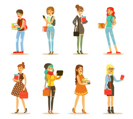 Flat vector set of young girls with books and bags. Students of college or university. Cartoon female characters in stylish casual clothes