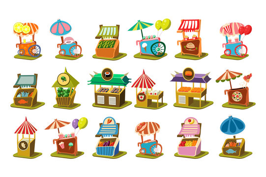 Colorful street cart shop set, retail kiosk on wheels vector Illustrations on a white background