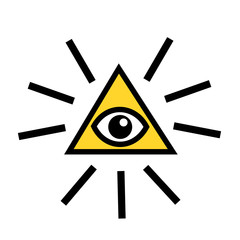 Eye of providence - eye, rays of light and triangle - symbol of freemasonry. Vector illustration
