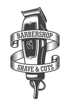 Vintage monochrome hairdresser salon logo