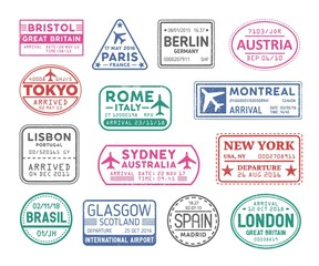 Fototapeta Collection of passport visa stamps isolated on white background. Bundle of travel or touristic marks. Set of round, rectangular and triangular journey or trip markings. Colorful vector illustration.