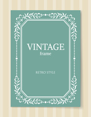 Vintage Frame Retro Style Decorative Foliage Leaves