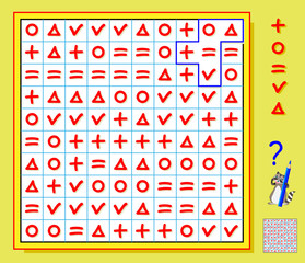 Logic puzzle game. Need to draw the lines so that every figure will have five different signs. Vector cartoon image.
