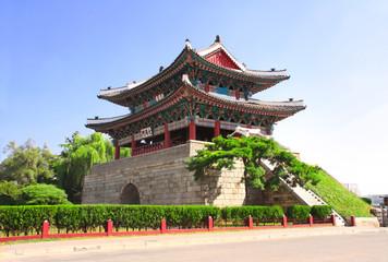 Taedongmun-dong, part of ancient fortress wall, Pyongyang, North Korea (DPRK)