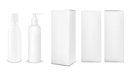 Plastic or metal white bottle with cap and with pump dispenser.. Vertical paper box