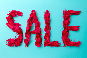 "The inscription ""sale"" on a bright blue background. The letters are made of peony petals."