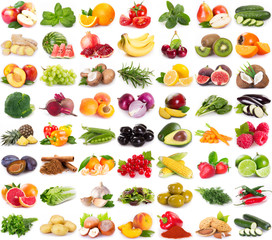 Deurstickers Vruchten Collection of fresh fruits and vegetables