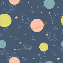 Vector seamless childish pattern with space elements: stars, planets, asteroids. Can be used for kids design, fabric, wallpaper, wrapping, textile, apparel.