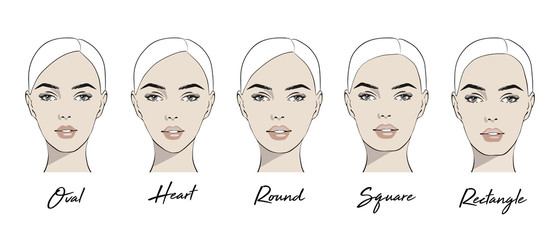 Set of vector face shapes. Oval, heart, round, square, rectangle. Different types of face people. Various types of women faces. Set Portrait of beautiful women