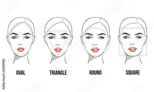 Set Of Vector Face Shapes Oval Triangle Round Square Rectangle