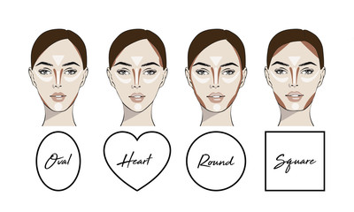 Contouring makeup for different types of woman's face. Vector set of different forms of female face. How to put on perfect make up. Contouring and highlighting for face shapes.