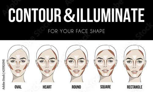 Contouring & illuminate makeup for different types of woman's face. Vector set of different forms