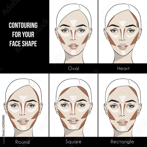 Contouring makeup for different types of woman's face. Vector set of different forms of female face. How to put on perfect make up.