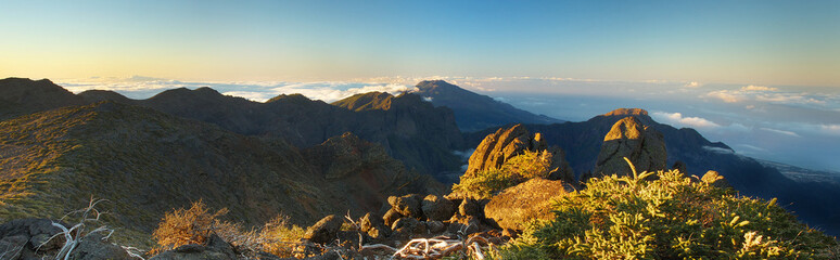 Morning above the crater Caldera de Taburiente, Island of La Palma, Canary Islands, Spain