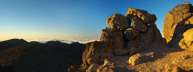 Sunrise on Pico de La Cruz, Caldera de Taburiente, Island of La Palma, Canary Islands, Spain