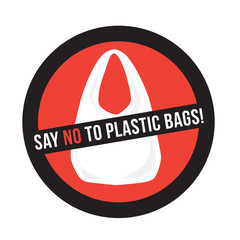 plastic bag with title say no to plastic bags, pollution problem, eco concept vector illustration