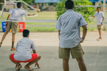 Happiness Students play sepak takraw in the afternoon.