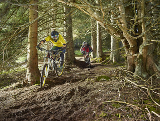 Male and female downhill mountain bikers