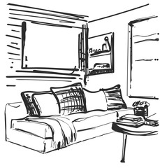 Living room graphic black white interior sketch illustration. Furniture. Sofa and table