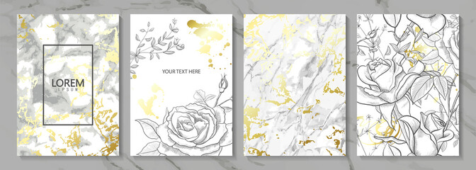 Luxury cards collection with marble golden texture and hand-drawn flowers.Vector trendy background. Modern set of abstract card, template,posters,invitational