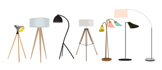 vector lighting lamp illustration. floor lamp, table lamp. interior design elements collection. realistic looking lamps.