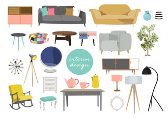 collection of furniture. interior design elements in modern trendy style. vector illustration of home decor elements. danish scandinavian style interiors.