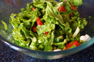 Salad with tomatoes, cucumbers, lettuce and green onions in bowl.