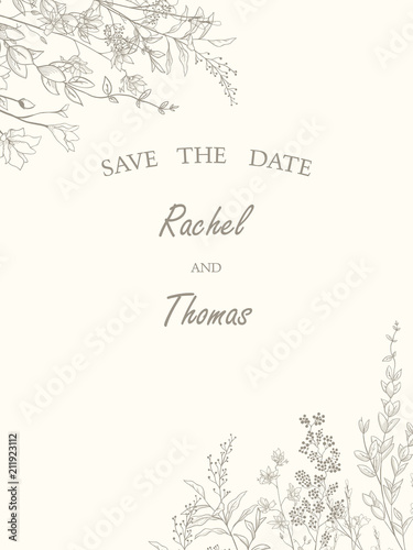 Save The Date Wedding Invitation Card Template Decorate With Hand