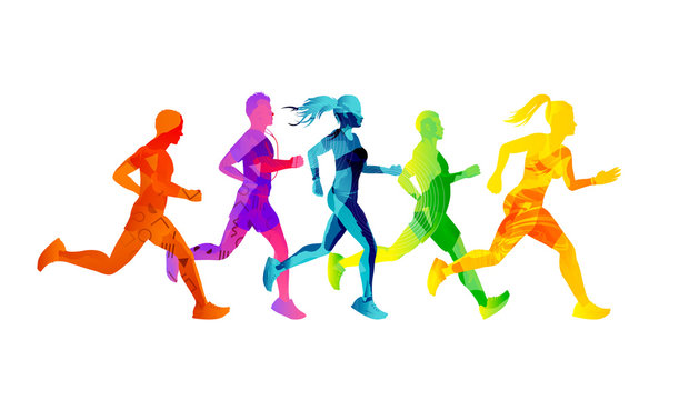 A group of running men and women competing and staying fit. Colourful texture people silhouettes. Vector illustration.