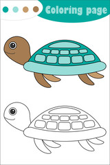 Turtle in cartoon style, coloring page, education paper game for the development of children, kids preschool activity, printable worksheet, vector illustration