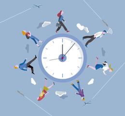 People walking around a circular clock