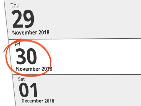Date Friday 30 November 2018 circled in red on a calendar