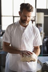 Male baker holding a dough in bakery shop