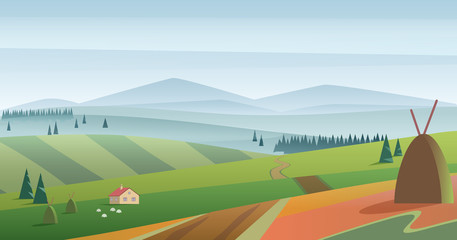 Vector image of green hills and meadow with farmhouse against blue mountains in haze. Morning fog field landscape.