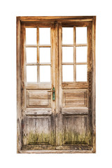 An old wooden double door isolated on white background