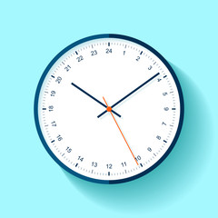 Clock icon in flat style, round timer on blue background. Twenty-four hour watch. Simple business object. Vector design element for you project
