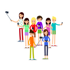 Woman selfie. Friends do joint self-portrait photograph. Happy smiling young man and women taking selfie photo. Illustration in flat style. Isolated